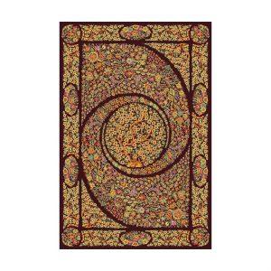 فرش ماشينی عرش طرح باغ بهشت زمينه فندقی