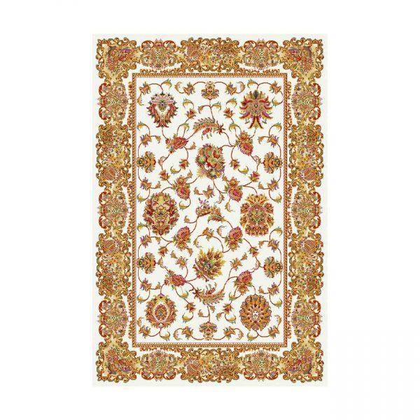 فرش ماشيني عرش طرح نیلوفر زمينه کرم